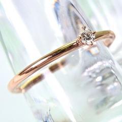 新品 K10ピンクゴールド ダイヤモンド リング7号 [501-3]
