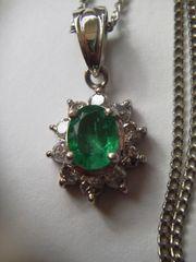 大変濃緑色エメラルド輝きダイヤモンドプラチナネックレス