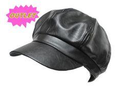 OUTLET シンプル PU キャスケット cap 帽子 黒 M755
