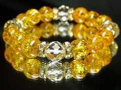 ビジネスの運気を集める!ダイヤカット水晶×シトリンクラック数珠ブレス
