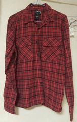 メンズ長袖シャツSサイズ、中古、赤チェック