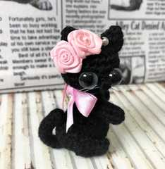 送料無料◆あみぐるみ◇リボン薔薇の黒猫ちゃん*ストラップ