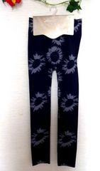 ストレッチ レギンス レギパン ネイビー花柄 M-L