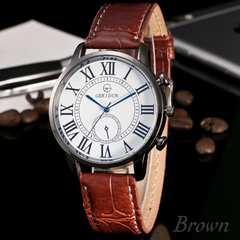 腕時計 ギリシャ文字 アナログ クォーツ レザー ブラウン