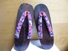 下駄のみ紫フリー和柄フラワー新品レディース浴衣女子
