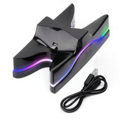 PS4 コントローラー7色LED充電スタンド miniUSB  2台充電 黒