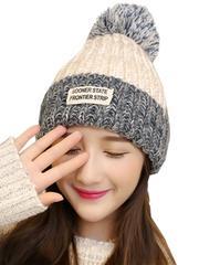 ポンポン ニット帽 レディース ホワイト