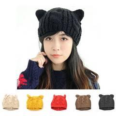 猫耳 ニット帽 レディース ブラック