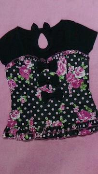 マーズMA*RS/ドット薔薇柄フリル&リボン付き半袖トップス新品激カワ