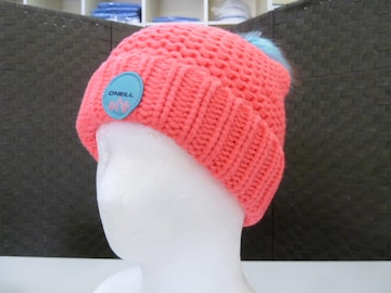J(女 桃)オニール★ニット帽 648952 折りたたみタイプ ボンボン付 厚みあり