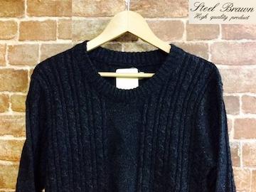 表記M/新品!STEEL BRAWN ケーブル編み フィッシャーマン ニット 黒 セーター