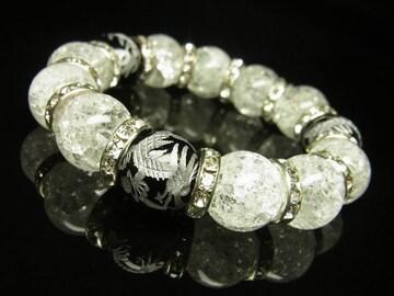 おすすめの一品 銀彫皇帝龍オニキス×クラック水晶ブレスレット 14ミリ