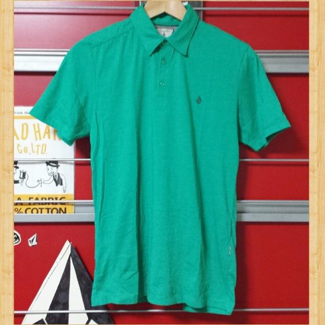 VOLCOM ボルコム ポロシャツ Kj スケボー S ロゴ刺繍 グリーン  < ブランドの