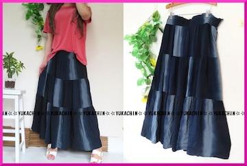 新作◆大きいサイズ3Lネイビー×ムラ染風◆切り替えロングスカート