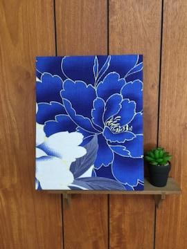 鮮やか青い花☆木製ファブリックパネル♪30残り2点