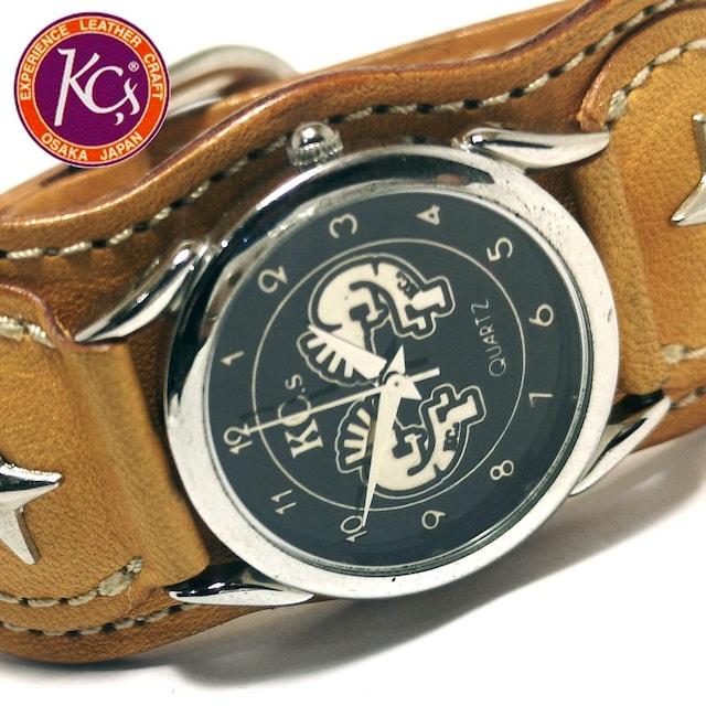 極美品 1スタ★Kc's インディアンデザイン 上質レザー 腕時計