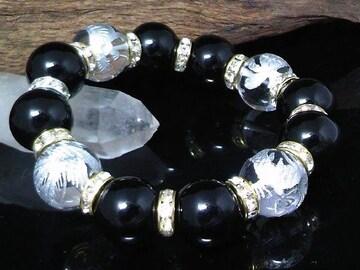 四神獣水晶16ミリ§オニキス14ミリ金ロンデル数珠
