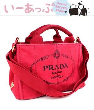 プラダ トートバッグ ショルダーバッグ レッド PRADA カナパ 1BG439 j933