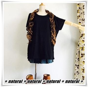 新作★大きいサイズ3L 胸レースポケットTシャツ&タンクセット*黒×黒