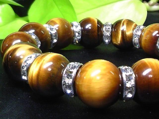天然石☆タイガーアイ虎目石14ミリ§銀ロンデル数珠 < 女性アクセサリー/時計の