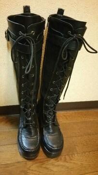 AKB48風ブラック編み上げ厚底ロングブーツ定価24800円の品
