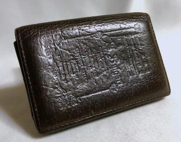 正規激レア BVLGARIブルガリ コレツィオーネ ロゴ文字レザーカードケース茶 名刺入れ