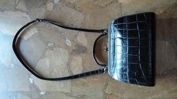 美品・ジャンポールゴルチェ・2wayがま口バッグ・クロコ型押し・黒