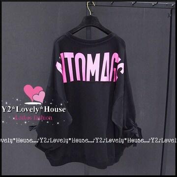 〜4L(5L)*バックロゴ&袖りぼん付ドルマンチュニック*黒