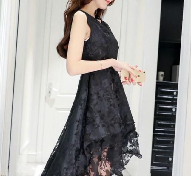 総レース  フレア ミニ ワンピ M 結婚式 パーティー 二次会 < 女性ファッションの