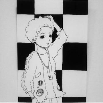 オリジナルイラスト 手描きイラスト 自作ハンドメイド市松模様の女の子モノクロ絵原画