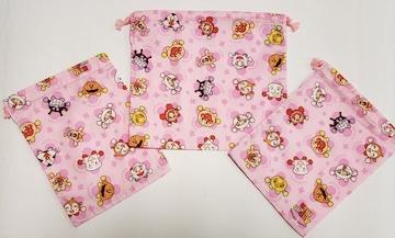 8K 特価 ☆ アンパンマン 巾着3枚セット(^o^)ハンドメイド