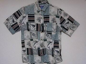 即決USA古着●SUMMA総柄デザイン半袖シャツ!アメカジビンテージレア