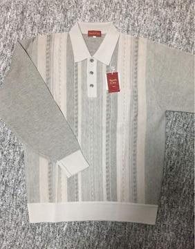 男性用 ベージュ系 襟付きボタンダウン長袖薄手ニット L 日本製
