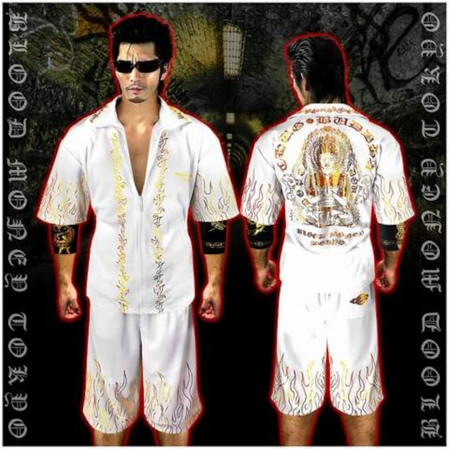 送料無料ヤクザオラオラ系半袖セットアップジャージ上下服/大日如来13017白-XL < 男性ファッションの