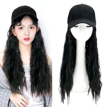 新品[7728]黒★帽子付ゆるウェーブロングウィッグ/ソバージュ