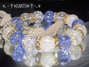 天然石★12ミリ爆裂水晶&ブル-カラークラック水晶数珠