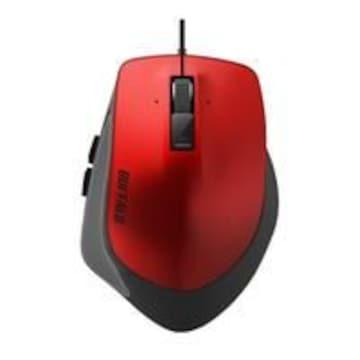 ☆BUFFALO 有線BlueLEDマウス(Sサイズ) Premium Fit レッド