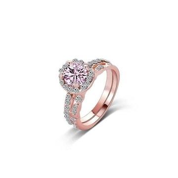 送料込み:ピンククリスタル リング(指輪)セット 11号
