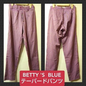 BETTY'S BLUE★USED★ストライプテーパードパンツ/ピンク系