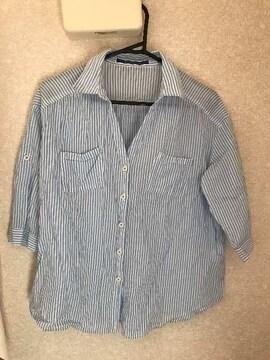 THE EMPORIUM ストライプ2wayシャツ L