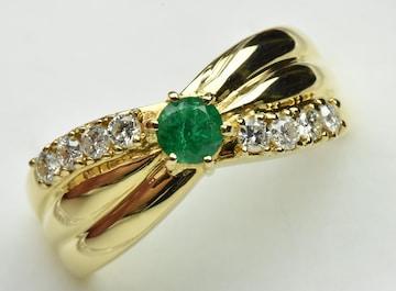 K18 ゴールド エメラルド ダイヤモンドリング 12号 指輪