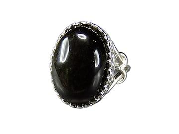 魔除けAAAオブシディアン大粒黒系指輪天然石リング約13.5号