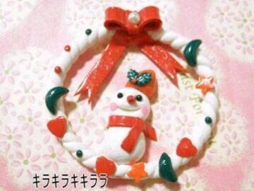 クリスマス<樹脂粘土>リース&雪だるま*デコパーツ