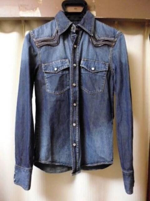 リチウムオム ジップ デニム ウエスタンシャツ 44ブルー  < 男性ファッションの