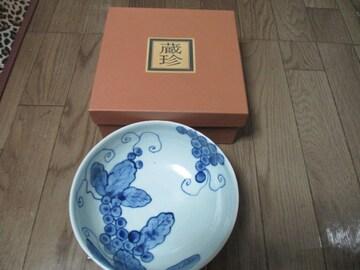 蔵珍窯 白磁朱彩ぶどう文鉢 陶器 器