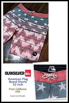 [QUIKSILVER]US-FLAGボードショーツ美品USED!本物USAモデル特価!