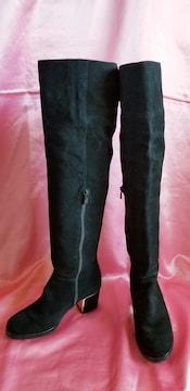 スペイン黒本皮スエードレザーゴールド2wayニーハイロングブーツ
