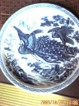 絵付けの大皿     鳳凰と松竹梅