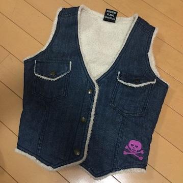 ドクロ刺繍◆デニム&ボアベスト◆130