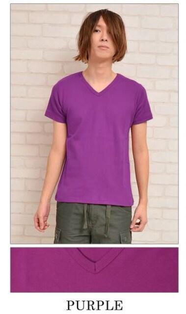 Vネック フライス Tシャツ 半袖 TEE パープル 紫  < 男性ファッションの